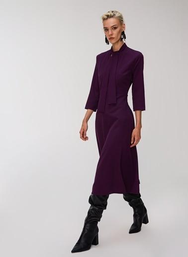 People By Fabrika Boyundan Bağlamalı Elbise Mürdüm